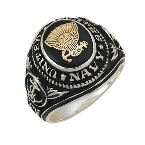 Sterling Silver Antiqued Black Onyx United States Navy Ring with Gold Emblem