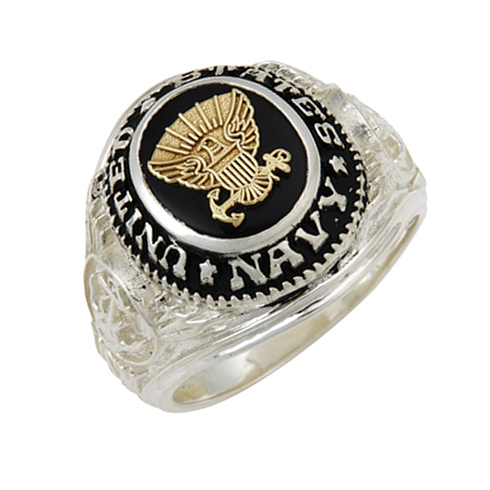 Sterling Silver Black Onyx United States Navy Ring with Gold Emblem