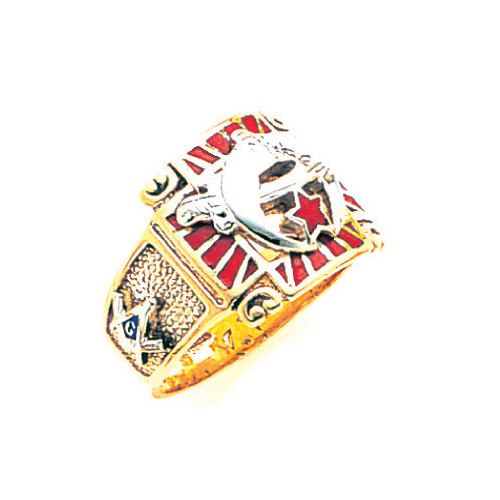 Shriner Ring with Red Enamel 10k Yellow Gold