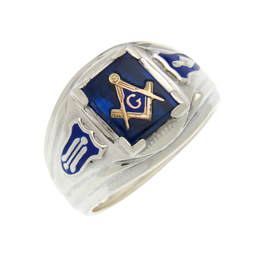 Sterling Silver Masonic Ring with Blue Stone and Shield Accents