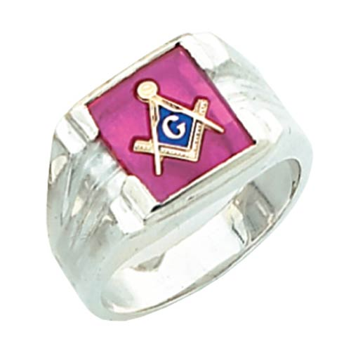 Sterling Silver Rectangular Masonic Ring with Grooved Sides