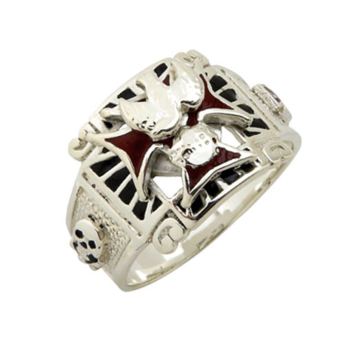 Fancy 4th Degree Knights of Columbus Ring Sterling Silver