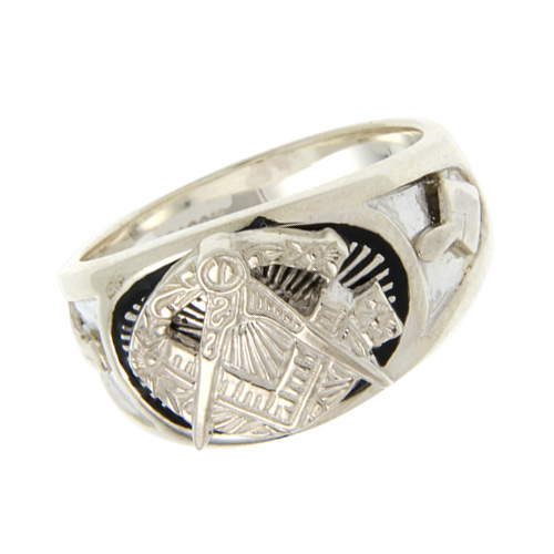Sterling Silver Antiqued Masonic Ring with Oversize G