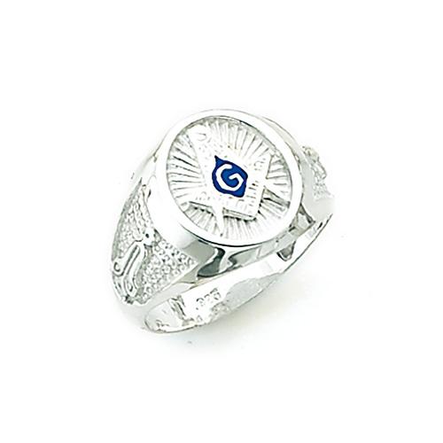 Sterling Silver Oval Masonic Starburst Ring
