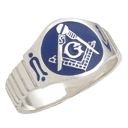 Sterling Silver Blue Enamel Masonic Ring