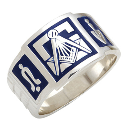 Sterling Silver Blue Enamel Wide Masonic Ring