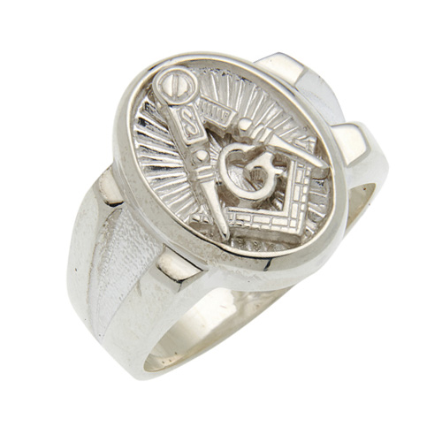 Sterling Silver Masonic Ring with Oval Signet Top