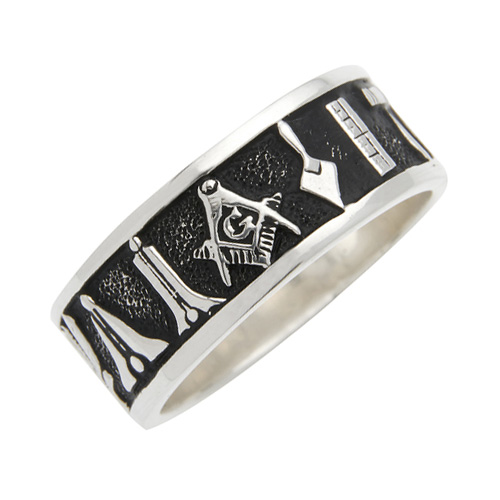 8mm Masonic Wedding Band with Working Tools 14k White Gold