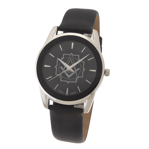 42mm Black Bulova Masonic Watch with Leather Strap
