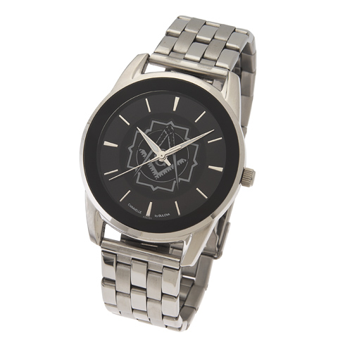 42mm Black Bulova Masonic Watch with Steel Bracelet
