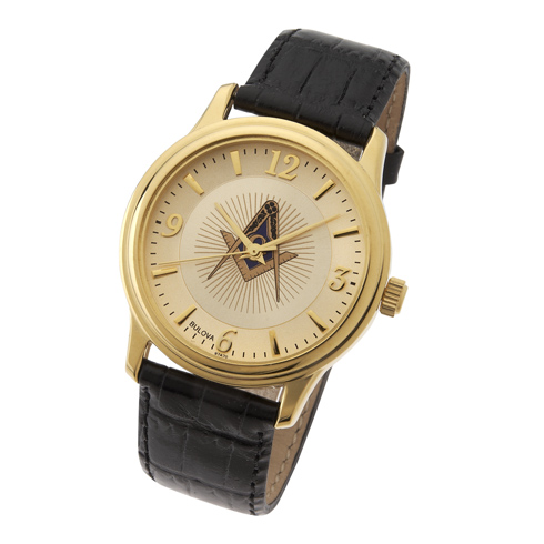 Gold Tone Bulova Masonic Watch with Black Leather Strap