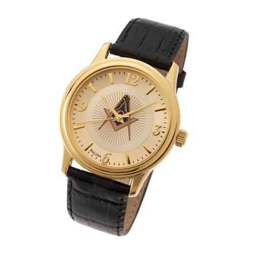 Gold Tone Bulova Masonic Watch with Black Leather Strap