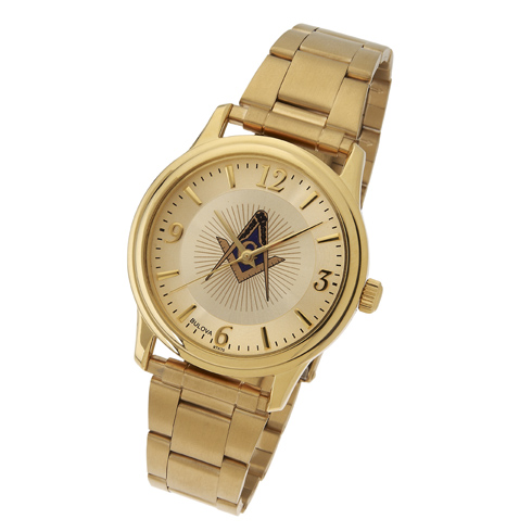 Gold Tone Bulova Masonic Watch with Steel Bracelet