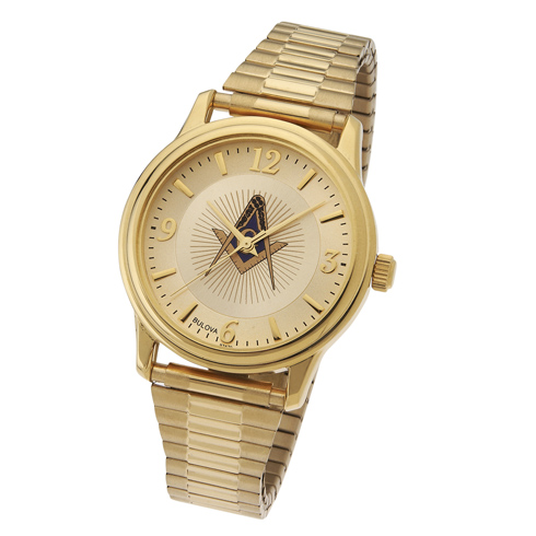 Gold Tone Bulova Masonic Watch with Expansion Band