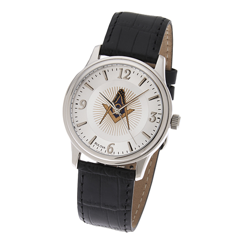 Bulova Masonic Watch with Black Leather Strap