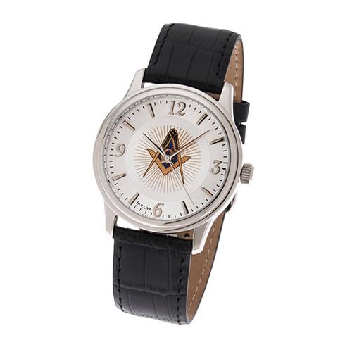 Bulova Masonic Watch with Black Leather Strap