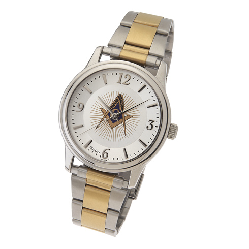 Two Tone Bulova Masonic Watch with Steel Bracelet