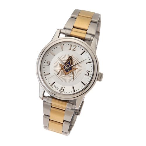 Two Tone Bulova Masonic Watch with Steel Bracelet