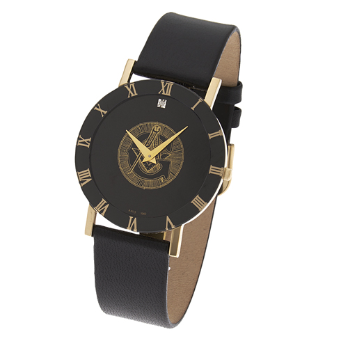 Black Masonic Watch with Roman Numerals and Black Leather Strap