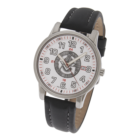 42mm White Sport Masonic Watch with Black Leather Strap