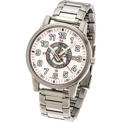 42mm White Sport Masonic Watch with Steel Bracelet
