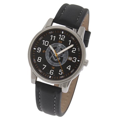 42mm Quartzline Black Masonic Watch with Black Leather Strap