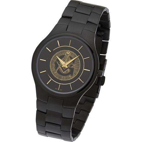 42mm Super Slim Black Masonic Watch