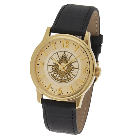Gold Tone Past Master Masonic Watch with Black Leather Strap