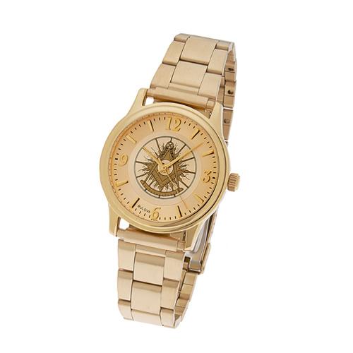 Gold Tone Past Master Masonic Watch with Steel Bracelet