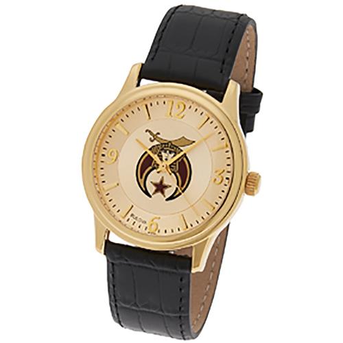 Gold Tone Bulova Shriner Masonic Watch with Black Leather Strap
