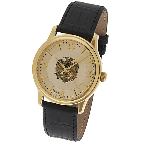 Gold Tone Bulova Scottish Rite Black Leather Watch