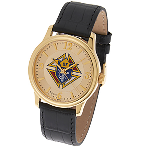 Gold Tone Bulova Knights of Columbus Watch Black Leather Strap