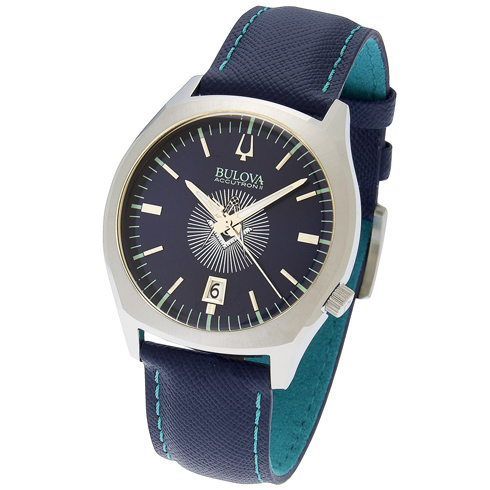 42mm Bulova Accutron II Masonic Watch with Blue Leather Strap