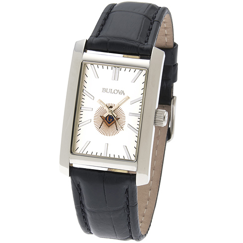 46mm Bulova Rectangular Masonic Watch with Black Leather Strap
