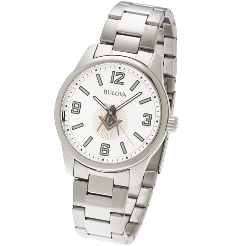 40mm Bulova Masonic Watch with White Dial and Steel Bracelet