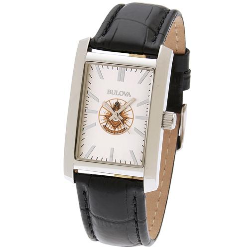 46mm Bulova Rectangular Past Master Watch with Black Leather Strap