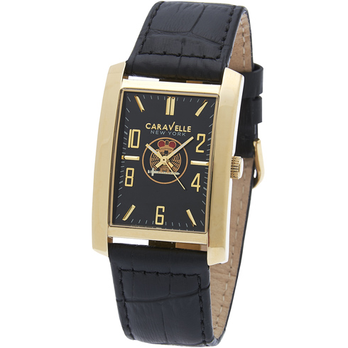 44mm Caravelle Rectangular Scottish Rite Watch with Black Leather Strap