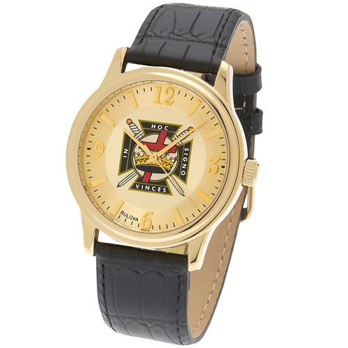 38mm Gold-tone Bulova Knights Templar Watch with Black Leather Strap