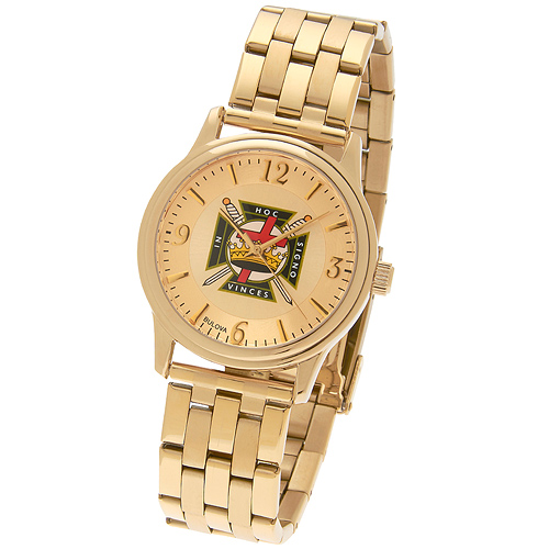 38mm Gold-tone Bulova Knights Templar Watch