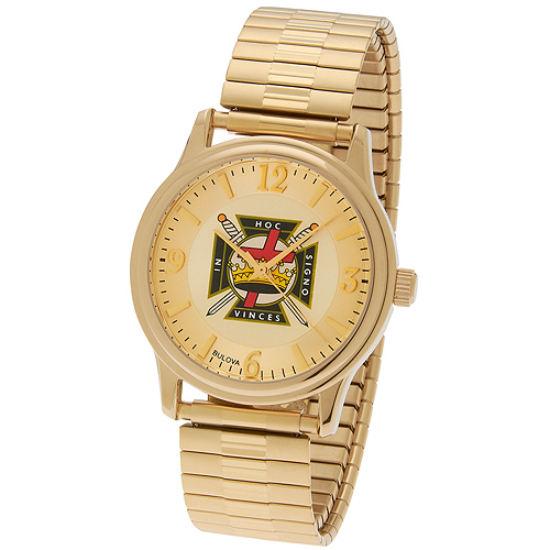 38mm Gold-tone Bulova Knights Templar Watch with Expansion Band