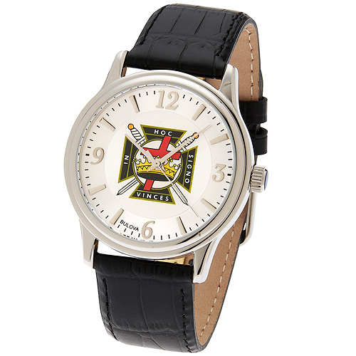 38mm Bulova Knights Templar Watch with Black Leather Strap