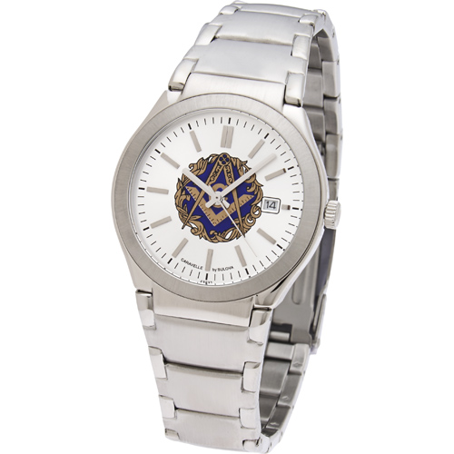 Bulova 38mm Masonic Watch with Steel Bracelet