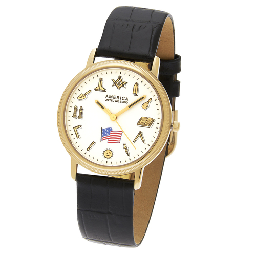 36mm Gold-Tone Masonic Watch with Black Leather Strap