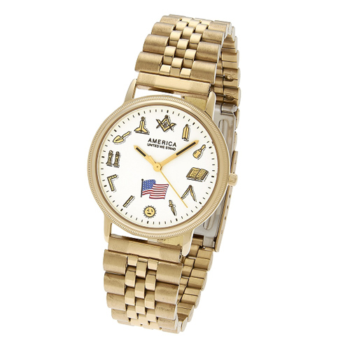 Masonic Watch with Working Tools and Gold-tone Bracelet