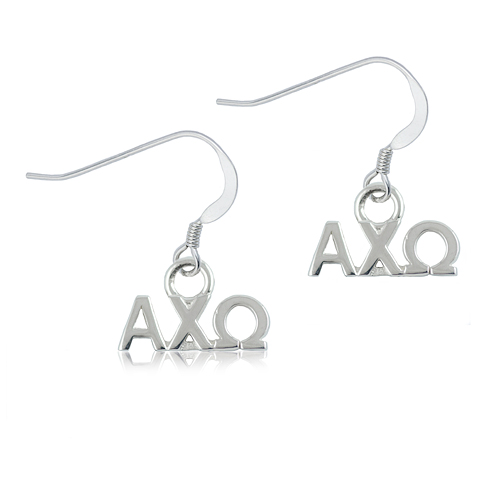 Sterling Silver Alpha Chi Omega Dangle Earrings