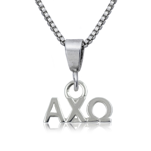 Sterling Silver 16in Alpha Chi Omega Charm Necklace