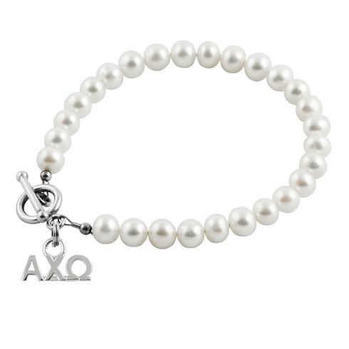 Sterling Silver Alpha Chi Omega Pearl Bracelet