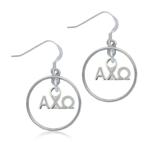 Sterling Silver Alpha Chi Omega Open Drop Earrings