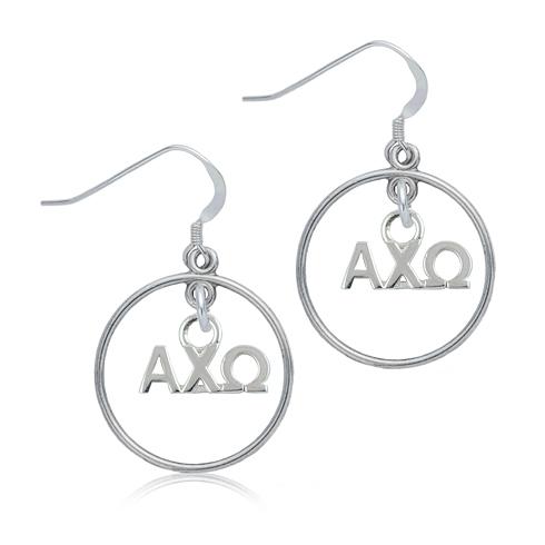 Sterling Silver Alpha Chi Omega Open Drop Earrings