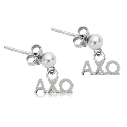 Sterling Silver Alpha Chi Omega Post Alabama Earrings